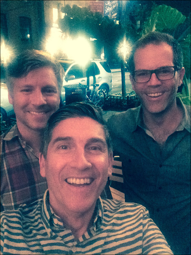 9:30 PM  After the show at Adella for drinks with friends, Mike and Rick, who are visiting from Provincetown.