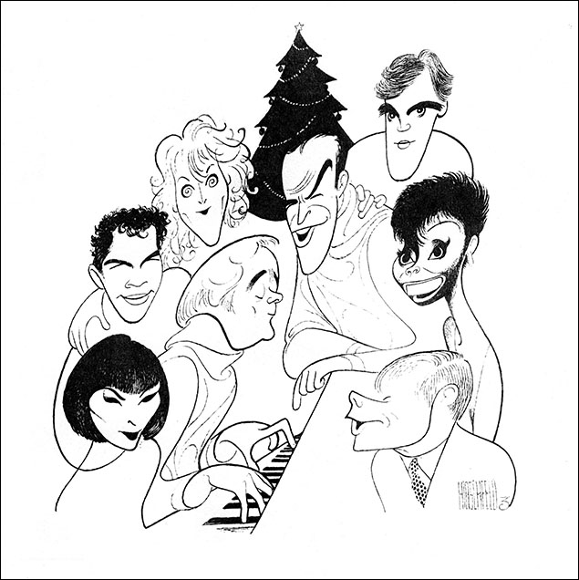 Cabaret Noel: Karen Akers, Brian Stokes Mitchell, Karen Ziemba, Howard McGillin, Leslie Uggams, Robert Morse, John Kander and Fred Ebb When Broadway Cares assembled an all-star roster of cabaret singers for a Christmas album, the organization naturally turned to Hirschfeld to create iconic album art.