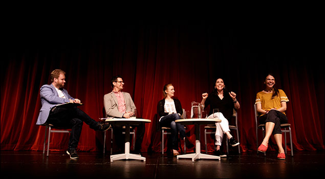 Luke Di Somma, Peter Flynn, Carmel Dean, Andréa Burns and Sutton Foster