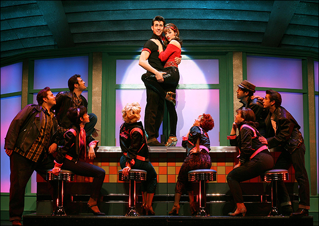 Max Crumm, Laura Osnes and company in the 2007 revival of Grease