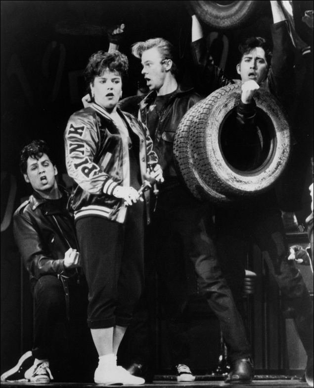 Hylan Scott II, Rosie O'Donnell, Jason Opsahl and Clay Adkins in the 1994 revival of Grease