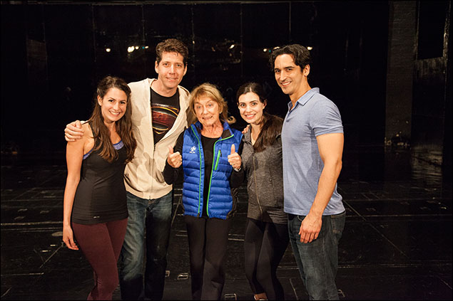 Choreographer Gillian Lynne with Rachel Zatcoff, James Barbour, Julia Udine and Sean MacLaughlin