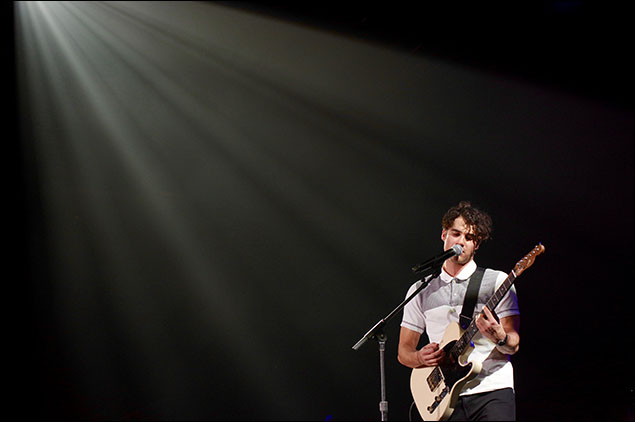 Darren Criss was the headliner of the 2016 Junior Theater Festival.  He performed a concert for all attendees featuring songs from his Broadway and television career.