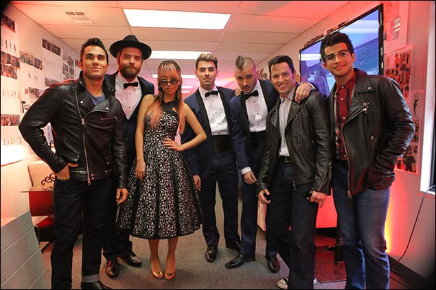 Carlos PenaVega, Joe Jonas (C) of DNCE, Andrew Call and Jordan Fisher