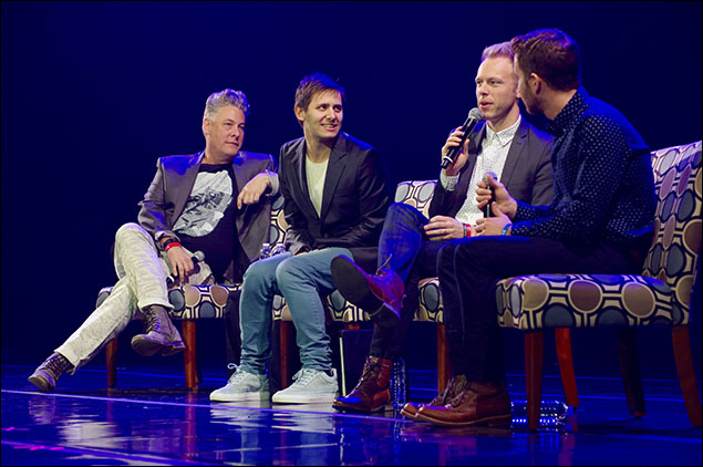 iTheatrics and Junior Theater group Founding Chairman Timothy Allen McDonald, songwriting team Benj Pasek and Justin Paul and Ben Platt discuss Dear Evan Hansen at Pathways, a Q&A session in which Broadway talent discuss their artistic journeys.