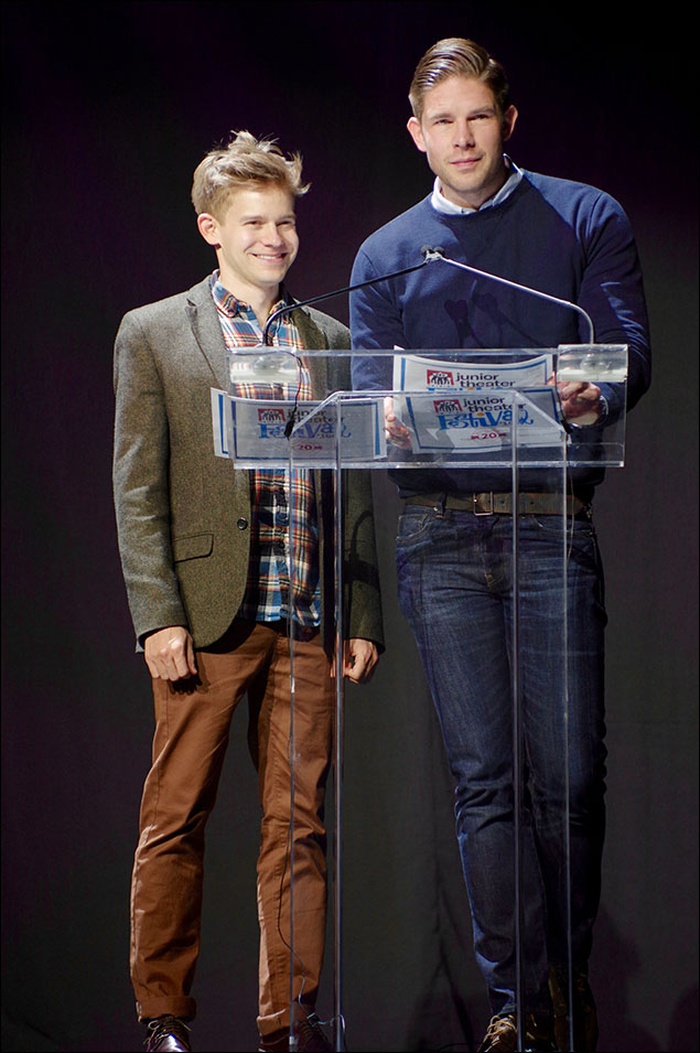 Broadway's Andrew Keenan-Bolger and NY1's Frank DiLella present the Freddie G Award for Excellence in Music at the Freddie G Students Awards