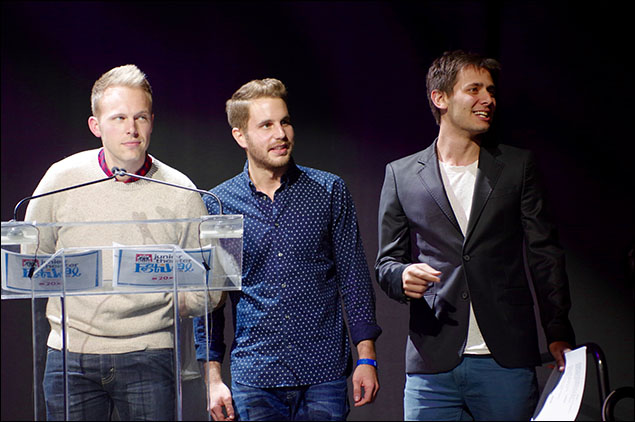 Justin Paul, Ben Platt and Benj Pasek announce the Freddie G Award for Excellence in Ensemble Work