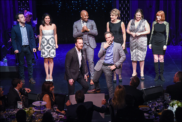 Rob McClure, Alexis Fishman, Michael James Scott, Victoria Clark, Lucia Spina, Erica Lustig, Matt Wall, and David Hibbard