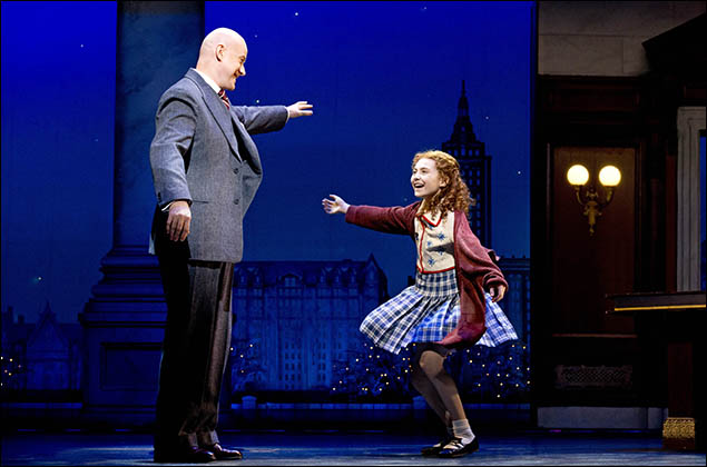 Anthony Warlow and Lilla Crawford in Annie on Broadway