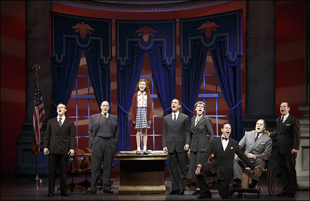 Jeremy Davis, Anthony Warlow, Lilla Crawford, Dennis Stowe, Jane Blass, Gavin Lodge, Merwin Foard and Kevin Quillon in Annie on Broadway