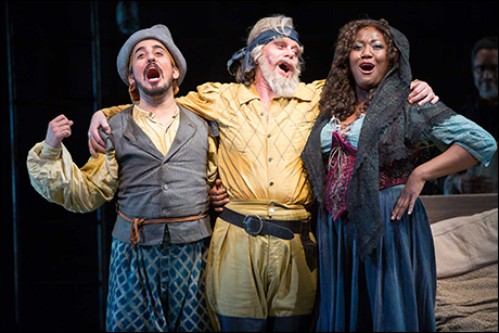 Nehal Joshi, Anthony Warlow and Amber Iman in Man of La Mancha at the Shakespeare Theatre Company in Washington, D.C.