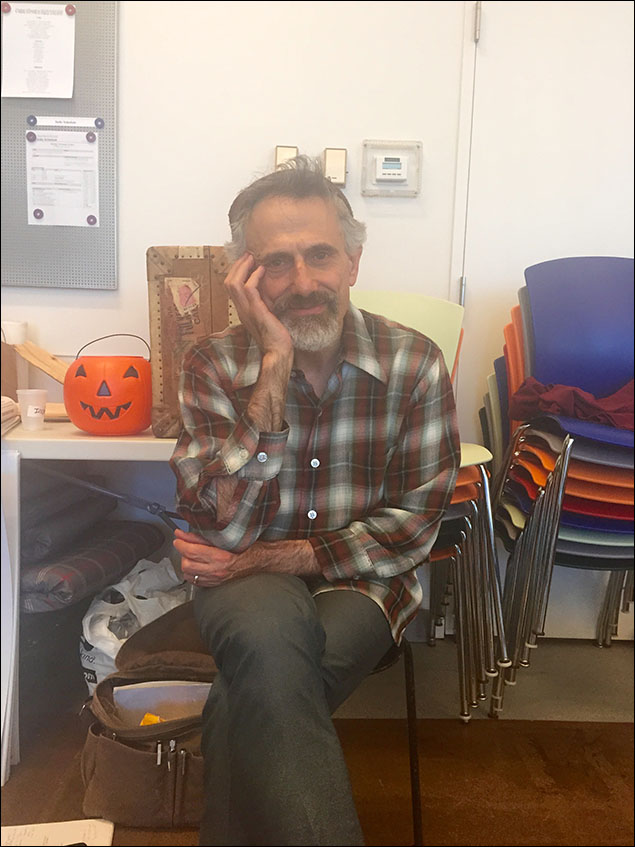 The formidable David Greenspan, who plays our mute King. Complete with a Jack-O-Lantern photo bomb.