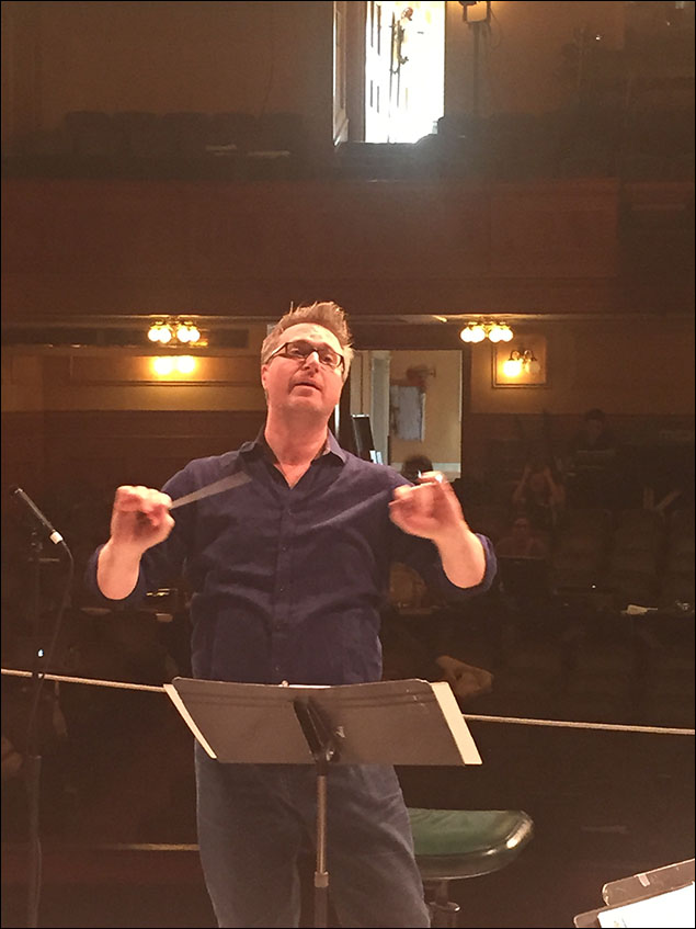 The fabulous Matt Castle, our music director, on our first day in the theatre.