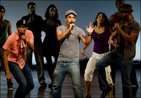 Kyle Beltran, Lin-Manuel Miranda and Javier Muñoz In The Heights at Gypsy of the Year in 2010
