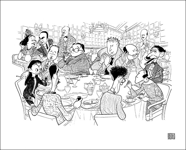 The Algonquin Round Table (clockwise from bottom left) Robert Sherwood, Dorothy Parker, Robert Benchley, Lynn Fontanne, Alfred Lunt, Frank Croninshield, Alexander Woollcott, Heywood Broun, Marc Connelly, Frank Case, Franklin P. Adams, Edna Ferber, and George S. Kaufman , 1962.