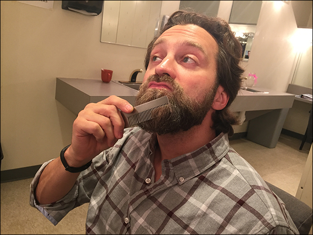 Graham Rowat's pre-show ritual is a niiiiiice beard combing.
