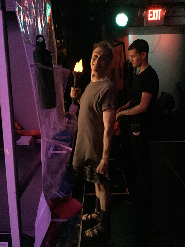 """Paul Castree about to go on for """"Pretty Little Picture"""" - not a real torch.  (and the wonderful Travis Coxson in the BG)"""