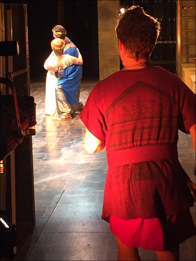 Fitz making his entrance while Kevin (as Senex) dips David