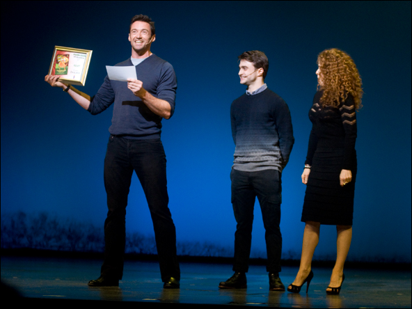 Hugh Jackman, Daniel Radcliffe and Bernadette Peters at  the 2011 Gypsy of the Year