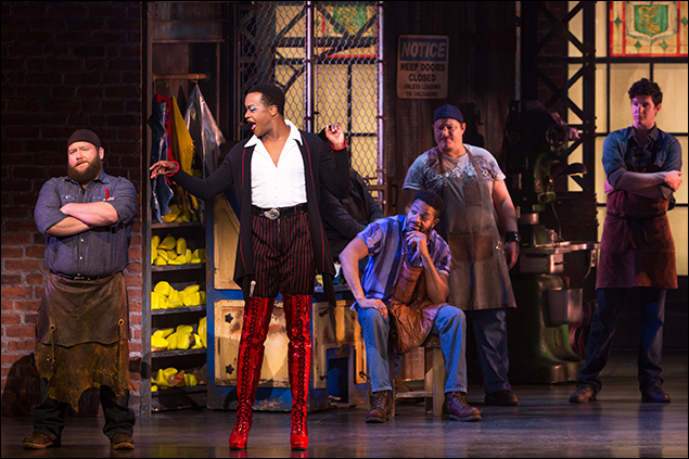 Aaron Walpole, J. Harrison Ghee and the cast of the National Tour of Kinky Boots