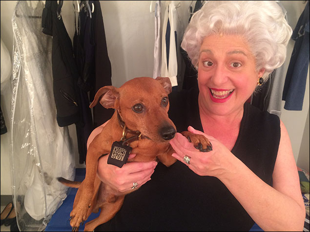 "Mary Testa brought her dog, Clyde, to work today.  He's pretty cute, if a bit confused as to why Mommy's hair is white.  And now, ""PLACES!!""  See you at intermission!"