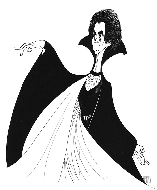 Frank Langella as Dracula, 1977 Perhaps the most famous stage production of the Dracula legend was this one starring Frank Langella, which featured creepy costumes and sets designed by Edward Gorey.
