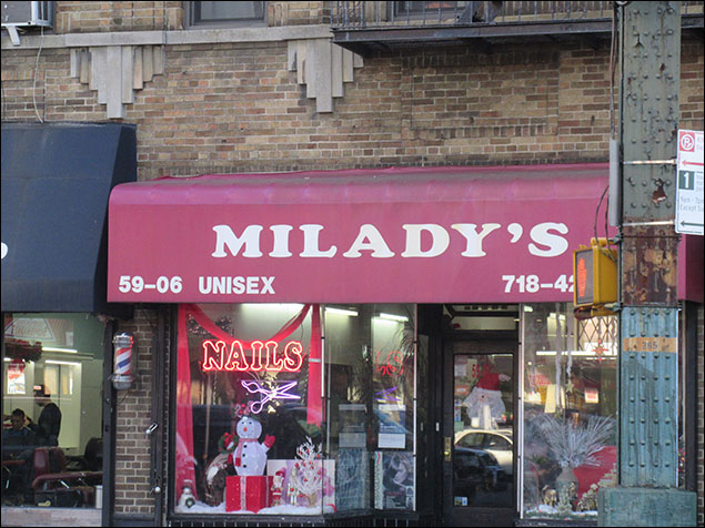 """This unisex salon always makes me giggle. I imagine the theme is a bunch of """"Downton Abbey""""-type workers who call everyone """"M'Lady.""""  Again… I'm a real gem."""