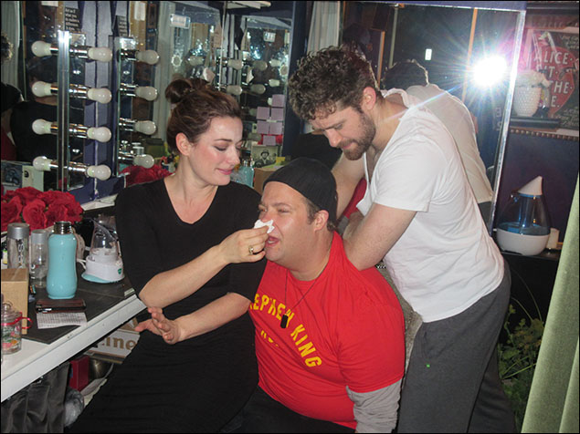 After our rest, it is time for my morning massage with Matthew.  Laura helps me with my sniffles.  It can get dusty backstage.