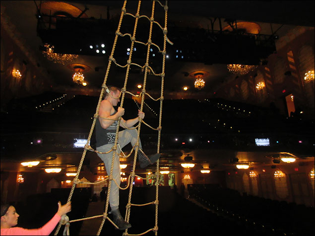 Ryan Worsing is practicing swinging on the rope ladders. As one does.