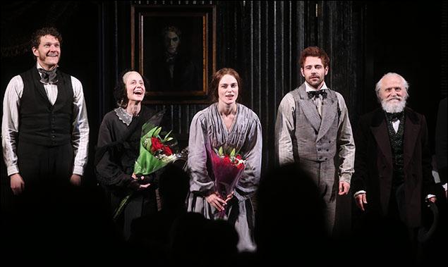 Gabriel Ebert, Judith Light, Keira Knightley, Matt Ryan, and David Patrick Kelly take there Thérèse Raquin opening night bows.