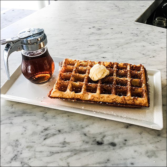 10:30 AM - And I'm out and about! Greeting strangers and birds as I whistle and walk the streets of downtown L.A., I make my way to Grand Central Market. A sensible mid-morning flat white and sweet and airy waffle from the espresso bar whilst doing more reading and people watching.