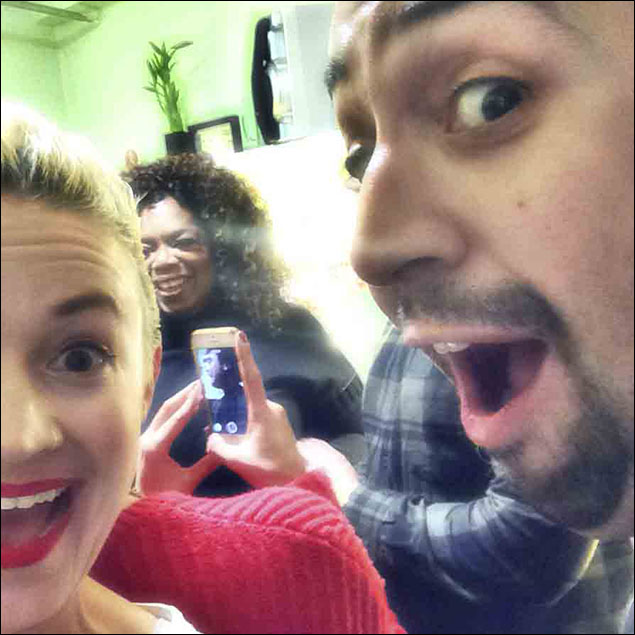 What better way to cap this installment off than with THE Oprah Winfrey, and of course Lin-Manuel Miranda photobombing the #struxselfie appropriately.  I also love the image of castmate Andrew Chappelle in the phone behind us even though you can't actually see his face.  This was taken in Lin's dressing room and was quite crowded, and people kept moving in and out of my frame, blocking Oprah.  But I MUST say, I am quite pleased with the outcome, and in line with all the other celebs, she was as lovely as that smile on her face.