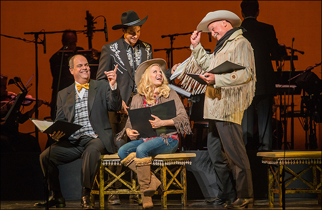 Brad Oscar, Andy Karl, Megan Hilty and Ron Raines in New York City Center's Annie Get Your Gun