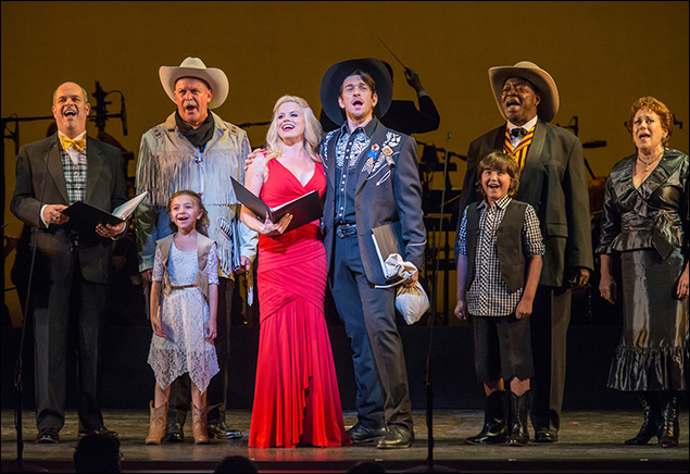 Brad Oscar, Olivia Edward, Ron Raines, Megan Hilty, Andy Karl, Sam Chuck, Chuck Cooper and Judy Kay in New York City Center's Annie Get Your Gun