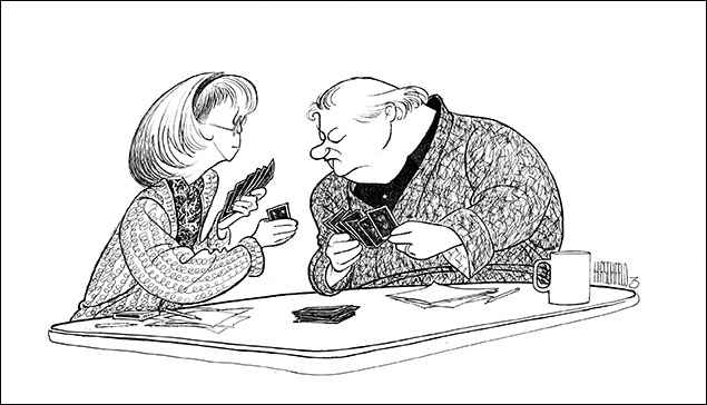 The Gin Game Charles Durning and Julie Harris, 1997 20 years after the Broadway premiere, Hirschfeld drew two of Broadway's leading lights in the two-person comedy.