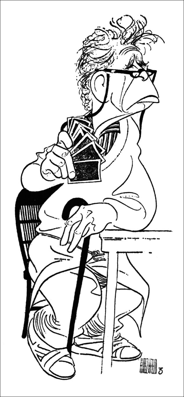 Hume Cronyn in The Gin Game, 1977 When The Gin Game opens on Broadway in October it will be almost the 40th anniversary of when Hirschfeld first drew this work from the original production.