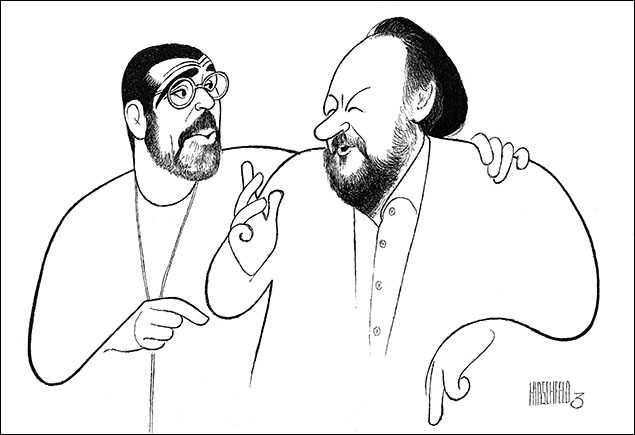 David Mamet and Ricky Jay, 2002 Mamet came to Hirschfeld's studio the afternoon before the opening of his On the Stem starring Ricky Jay to pose for this drawing. The two men chatted with Hirschfeld about the history of Broadway and vaudeville. The conversation was reprinted virtually verbatim in the New York Times.