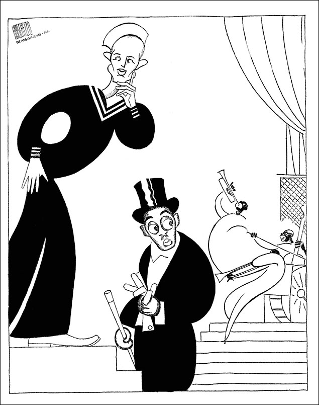 Buster West and Noble Sissle at the Ambassadeurs Nightclub, 1928 Hirschfeld caught Noble Sissle, who wrote the lyrics for Shuffle Along, in Paris on the artist's honeymoon. Sissle was conducting a great hot jazz band featuring Sidney Bechet. West was an eccentric dancer