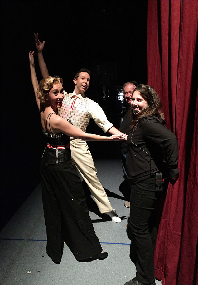 Jeremy Benton (Phil Davis) and Kelly Sheehan (Judy Haynes) strike their opening pose seconds before the curtain opens for Act II.