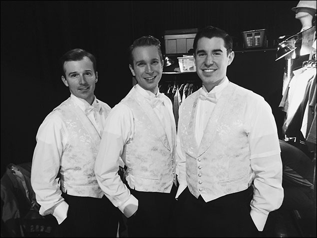 """Looking good in a tux is a prerequisite for being in White Christmas. In all seriousness though, these guys look great. Drew Humphrey, Joe Grandy, and Bryan Hunt are ready for """"Love, You Didn't Do Right By Me."""""""