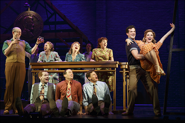 Jeff Blumenkrantz, AJ Shively, Emily Padgett and the company of Bright Star