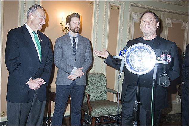 U.S. Senator Charles E. Schumer, Matthew Morrison  and Harvey Weinstein