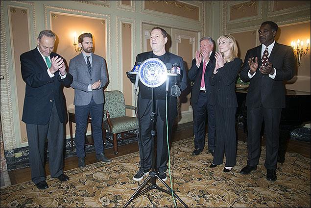 U.S. Senator Charles E. Schumer, Matthew Morrison, Harvey Weinstein, Robert Wankel, Judith Light and Norm Lewis