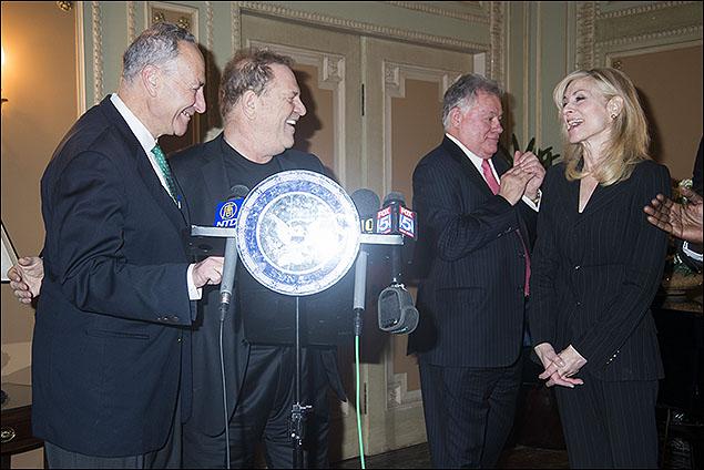 U.S. Senator Charles E. Schumer, Harvey Weinstein, Robert Wankel and Judith Light