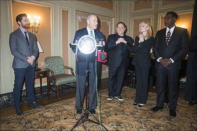 Matthew Morrison, U.S. Senator Charles E. Schumer, Harvey Weinstein, Judith Light and Norm Lewis