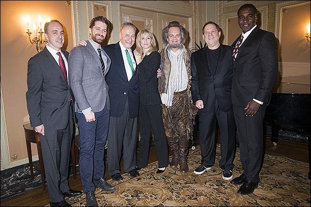 Vincent Alvarez, Matthew Morrison, U.S. Senator Charles E. Schumer, Judith Light, Brad Oscar, Harvey Weinstein and Norm Lewis