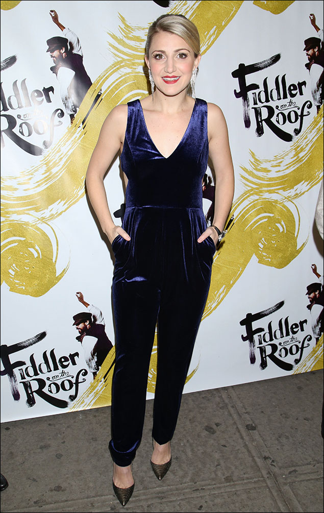 """Annaleigh Ashford was chic-as-could-be in that midnight violet velvet jumpsuit! The cut-outs were sexy-as-heck and very daring for the cold weather! I give Annaleigh a purple-heart and a gold star for """"Fashion Fortitude!"""""""