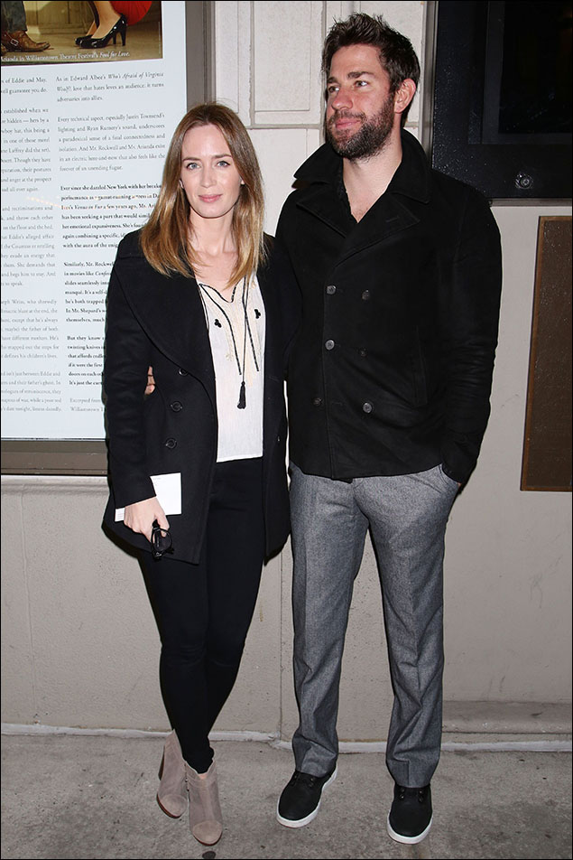 Emily Blunt and John Krasinski, the young, modern couple! I'm loving Emily's Boho blouse with the tassle against the all-black coat and pant, and John looking sharp in his p-coat and fitted trouser.