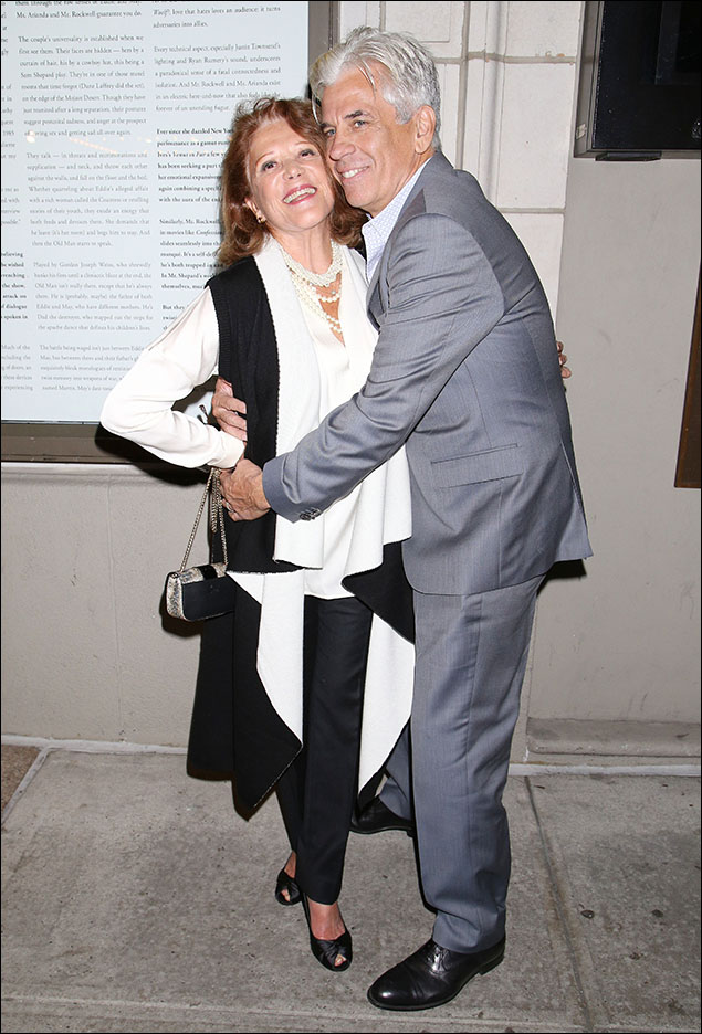 Linda Lavin... I'm loving the bold black and white drama of Linda's flowy ensemble!...and her pearls? ...PERFECT!      and Steve Bakunas looking fabulous in his 50 shades of grey!