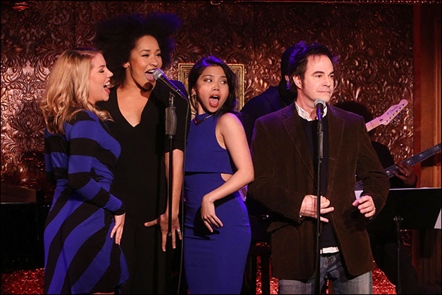 Maggie McDowell, Olivia Phillip, Catherine Ricafort and Roger Bart